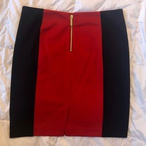 NWOT Michael Kors Red & Blk knit mini skirt size 8
